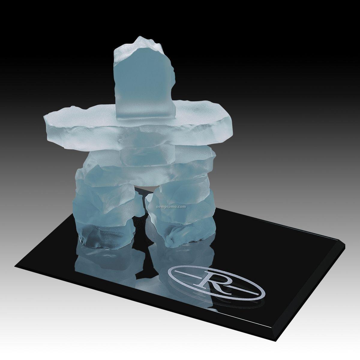 """7 1/2"""" Frosted Inukshuk Sculpture On Ebony Base"""