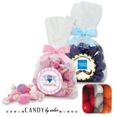 Large Gusset Stand Up Bag W/ Bow Filled With Gumballs