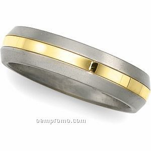 6mm Titanium & 18ky Comfort Fit Wedding Band Ring (Size 11) Gold Center