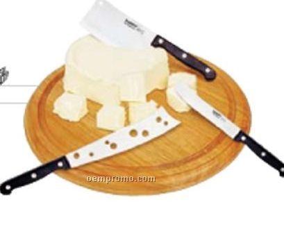4 Piece Round Cheese Set W/ Serving Board