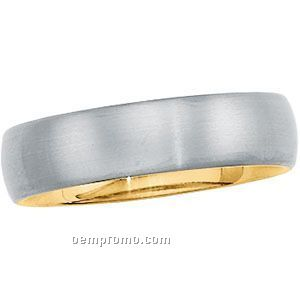 6mm Titanium & 18ky Comfort Fit Wedding Band Ring (Size 7)