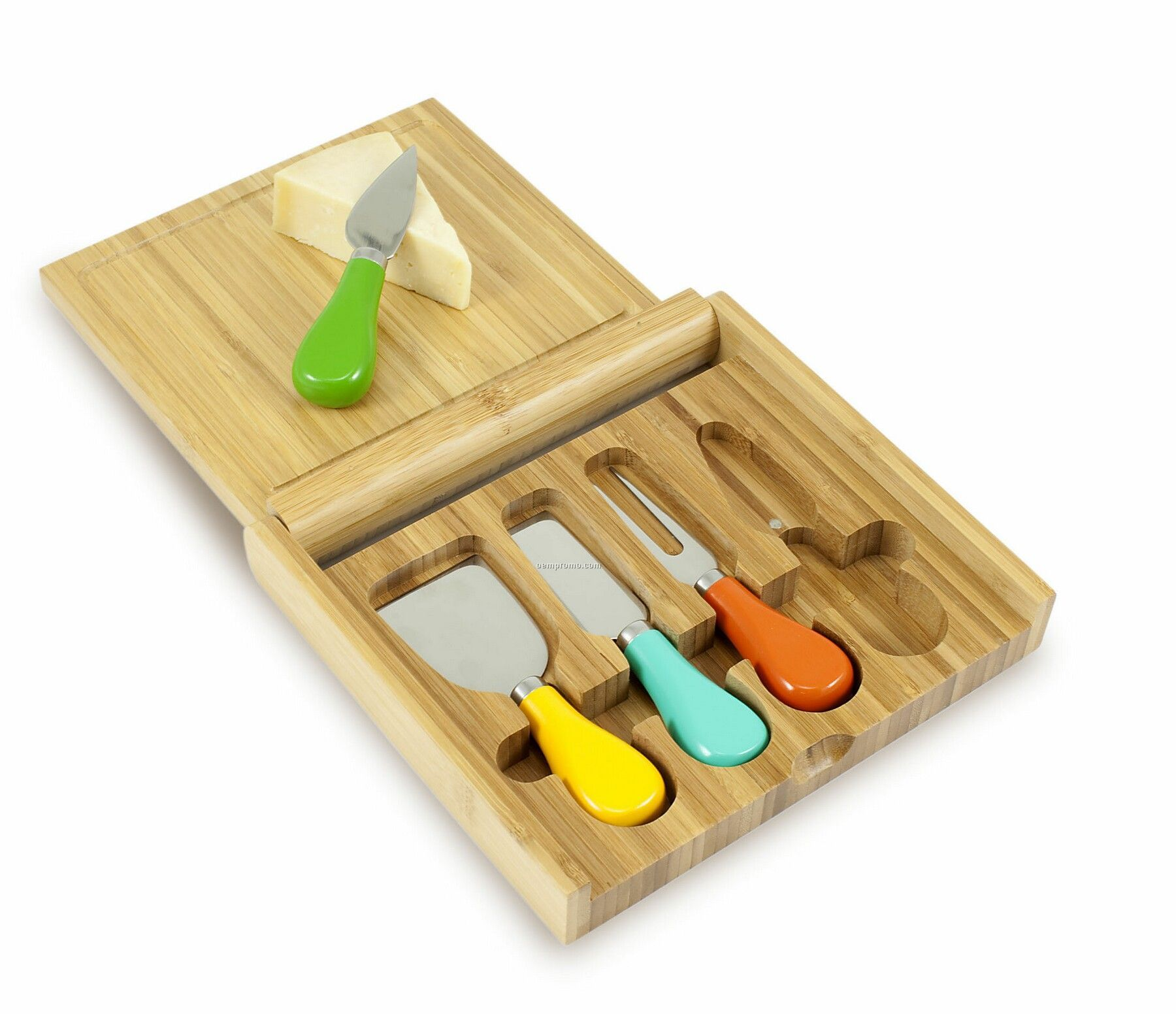 Carnaval Bamboo Cutting Board W/ Colored Handle Cheese Tools