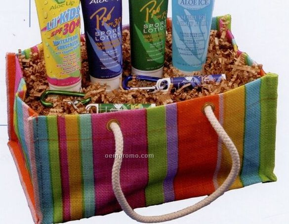 Jute Collapsible Striped Basket W/ Carabiner & Sun Essential Products