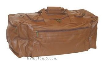 Large Brown Pebble Grain Calf Leather Duffel Bag