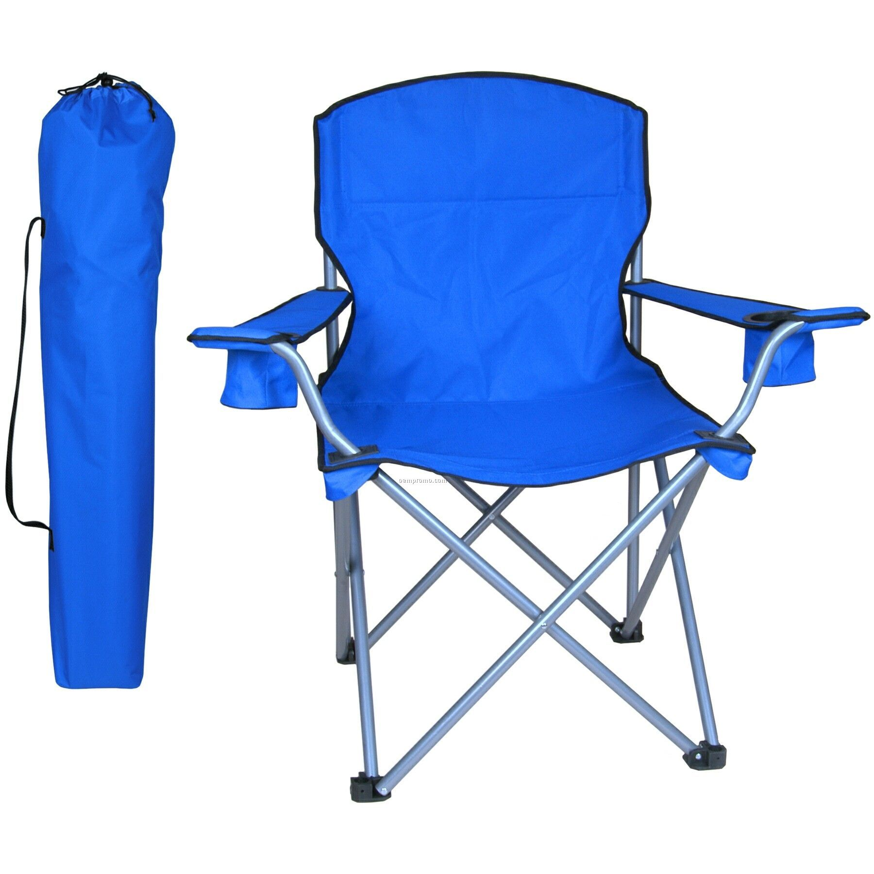 Large Folding Chair W/Arm Rests, 2 Cup Holders And Carry Bag- 330 Lb Rating