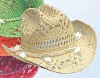 Straw U Shape It Western Hat W/ Star Detailed Crown