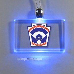 Rectangle Light Up Pendant Necklace W/ Blue LED