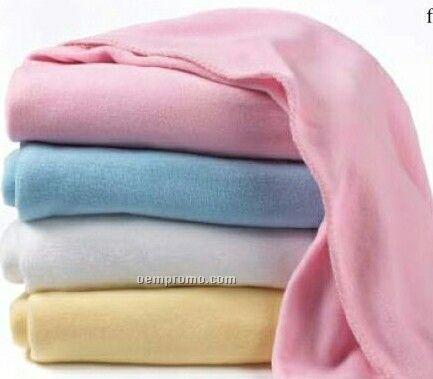 Wolfmark Navy Blue Fleece Crib Blanket