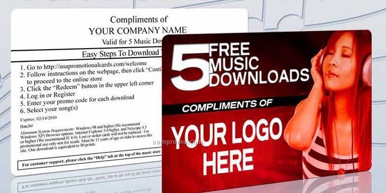 1 Song Custom Branded Music Download Card