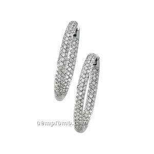 23-1/2mm Ladies' 18kw 1-1/4 Ct Tw Diamond Round Hinged Earring