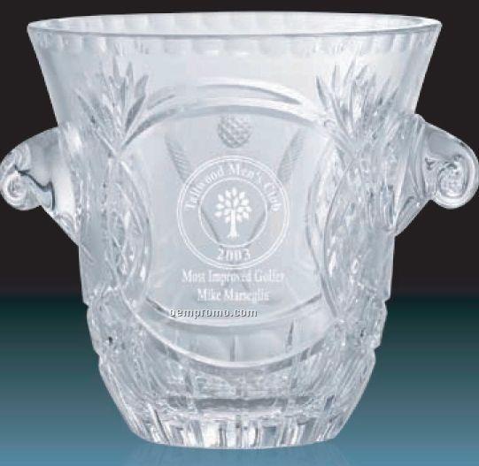 Hand Cut Crystal Ice Bucket Award W 2 Handle 7 Quot China