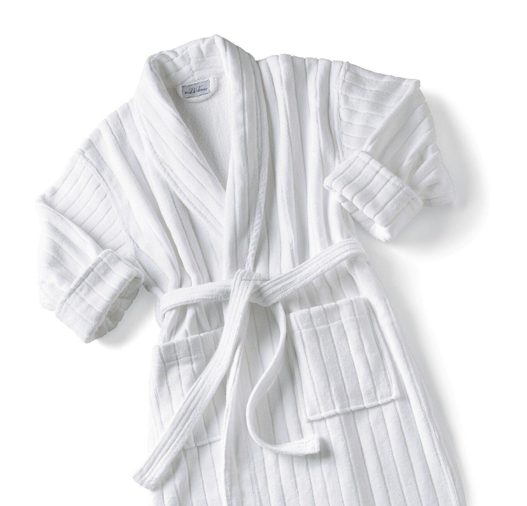 Kimono Collar Velour Stripe Robe