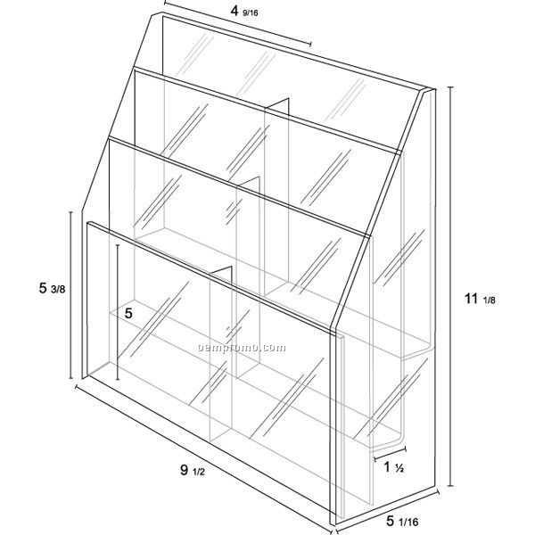 Literature Holder - Six Pocket Tiered For 4'' W Material