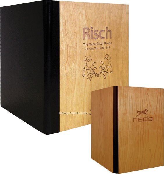 """Real Wood Menu Cover With Leather Back- 3 View (4-1/4""""X14"""")"""