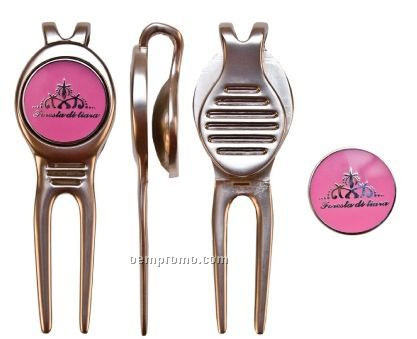 Zinc Core With Nickel Plating Golf Divot Tool & Marker (Super Saver)
