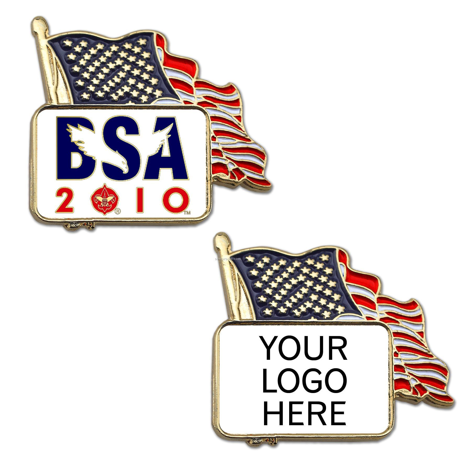 American Flag Lapel Pin With Custom Logo