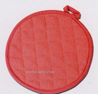 Poly Cotton Twill Round Pot Holder W/ Terry Cloth Lining