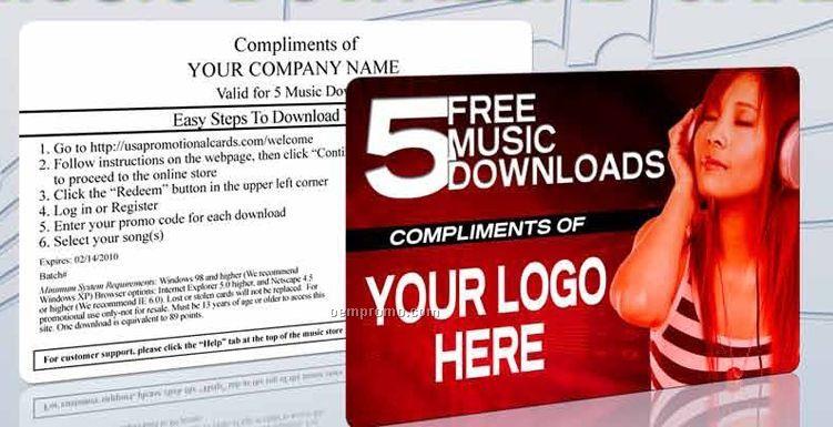 5 Songs Custom Branded Music Download Card