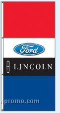 Double Face Dealer Free Flying Drape Flags - Ford/Lincoln