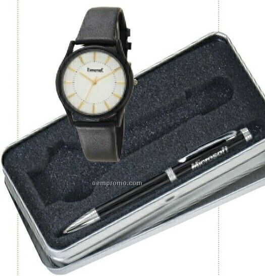 Unisex Black Wrist Watch W/ Ballpoint Pen In Gift Box