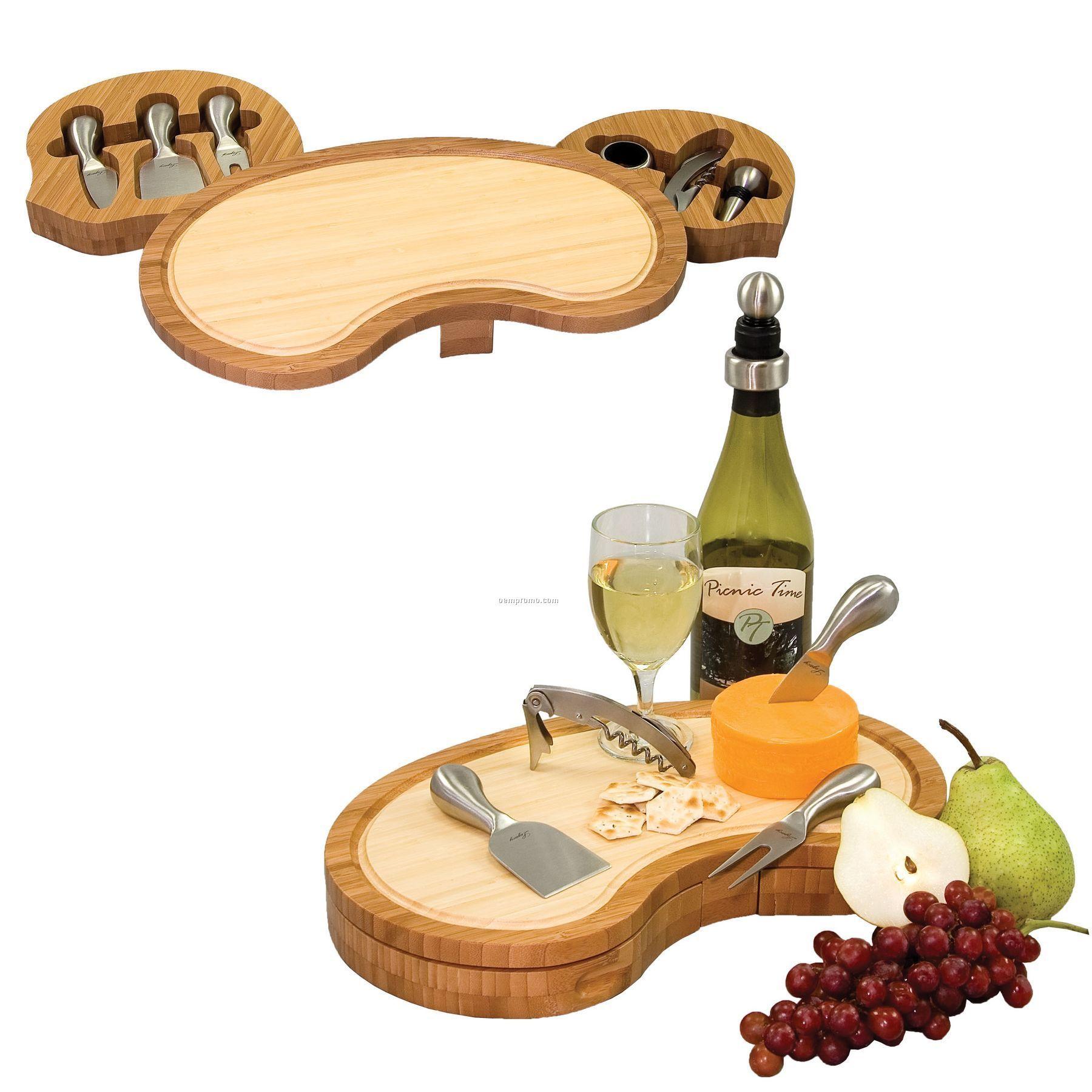 Mariposa Gourmet 2 Tone Cutting Board W/ 6 Wine & Cheese Tools In 2 Drawers