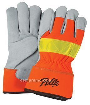 Men`s Select Suede Cowhide Leather Palm Gloves (Large)
