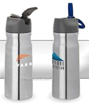 26 Oz. Stainless Steel Water Bottle W/ Screw Cap With Carry Loop