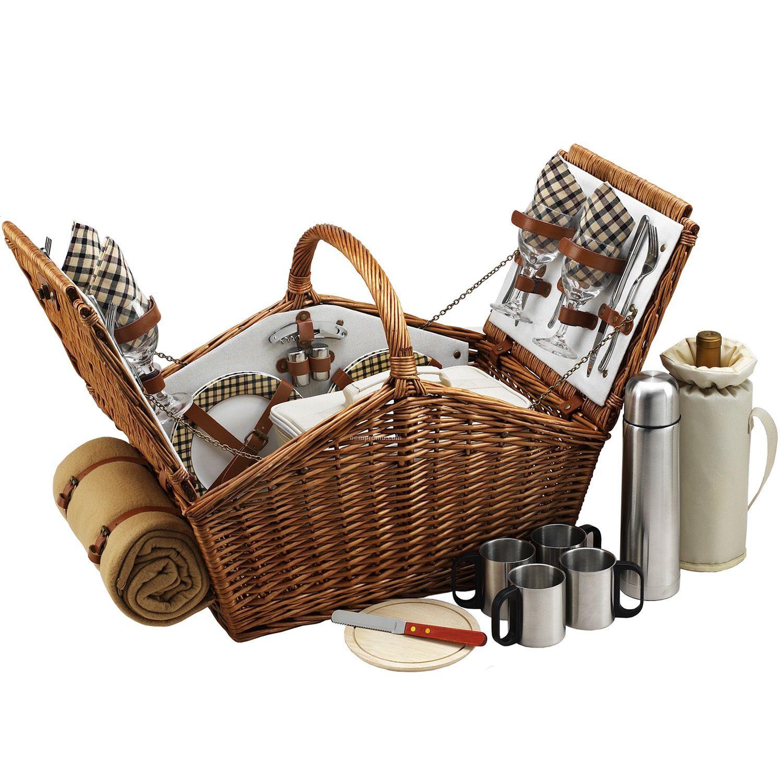 Huntsman Picnic Basket For Four With Coffee Set & Blanket