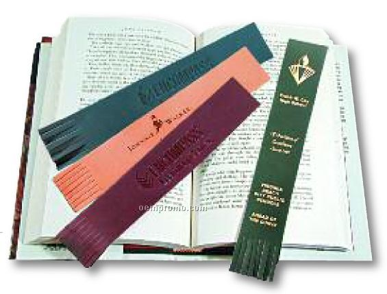 Imprinted Leather Bookmark with trim