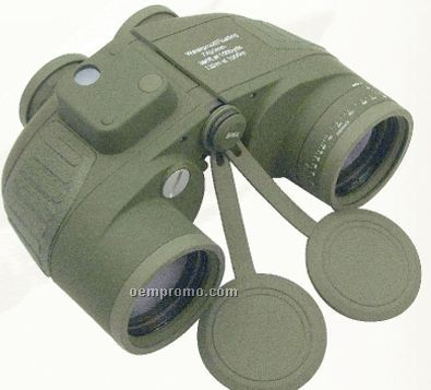Military Type Olive Green Drab Binoculars With Built-in Compass