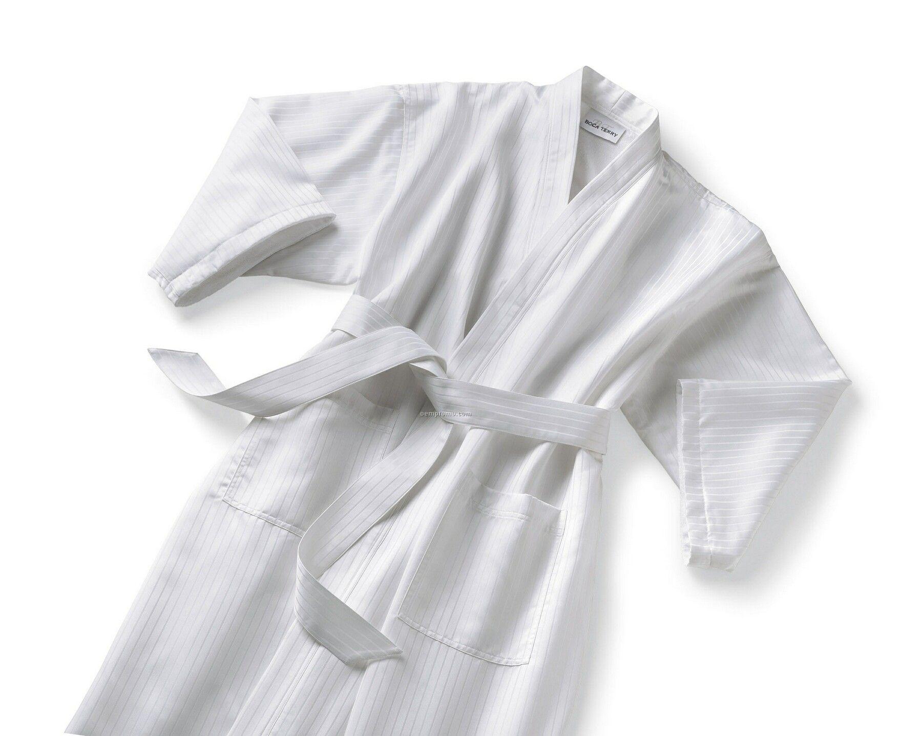 Satin Stripe Kimono Collar Robe