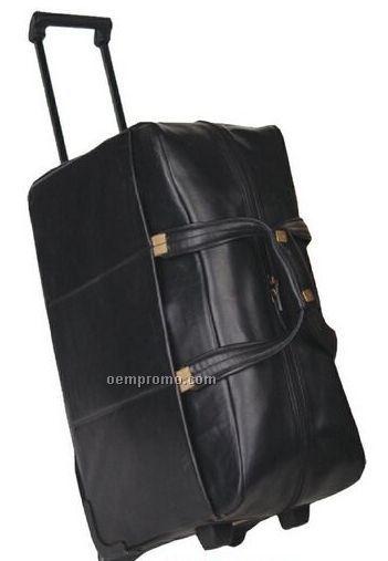 Veg tanned leather wheeled duffel bag china wholesale veg tanned leather wheeled duffel bag for Leather luggage wheeled duffel