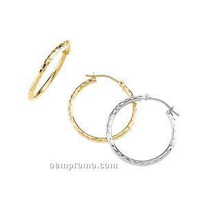 20-1/2mm Ladies' 14ky Diamond-cut Hoop Earring