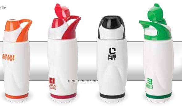 Colorful Flip Top Polypropylene Water Bottle W/ Carry Handle
