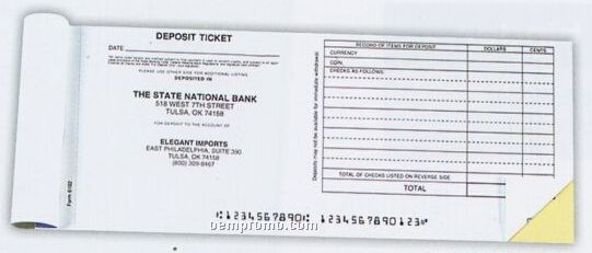 Horizontal 2 Part Deposit Slip
