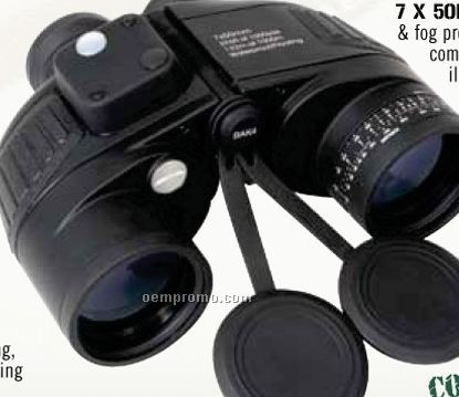 Military Type Black 7x50mm Binoculars With Built-in Compass