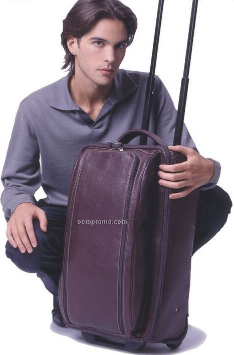 Hand Stained Leather Wheeled Carry On Bag