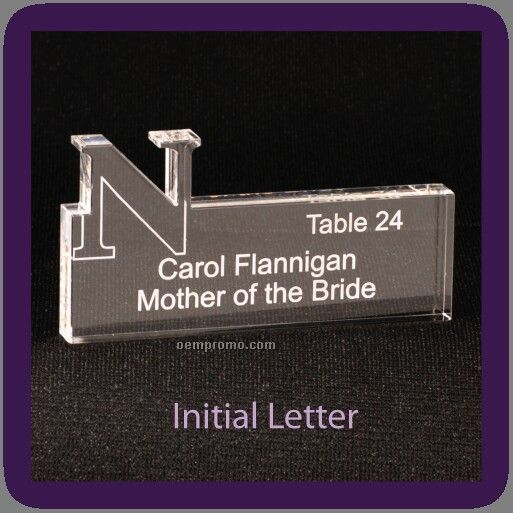 "Table Seating Placecards Custom Engraved, Any Letter Approx. Size 3"" X 4"""