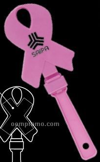 "6 3/4"" Pink Ribbon Hand Clappers"