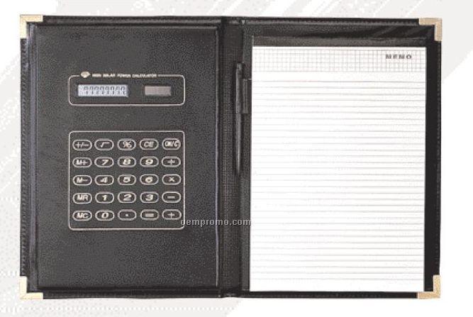 Tri-fold Portfolio With Solar 8 Digit Calculator
