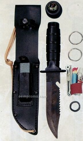 Black Survival Kit Military Knife With Compass