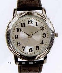 Esteem Ladies' Silver Dress Watch With Black Leather Band