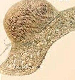 Ladies Straw Hat W/ Cut Out Brim
