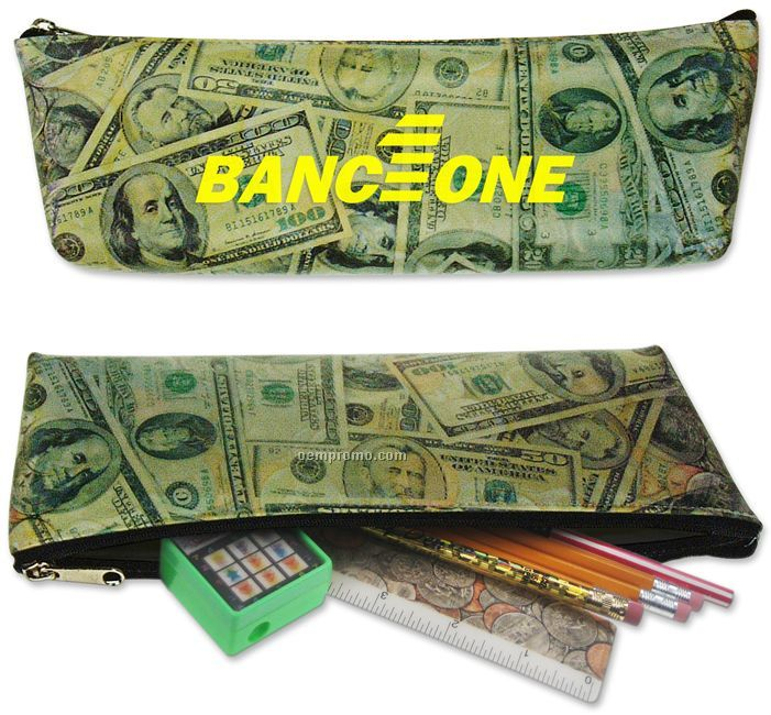 Pencil Case With Usa Currency Money Lenticular Flip Design, Imprinted