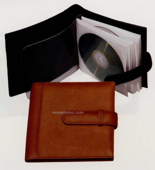 "5-7/8""X6-1/4""X1"" Leather 10 CD Holder"