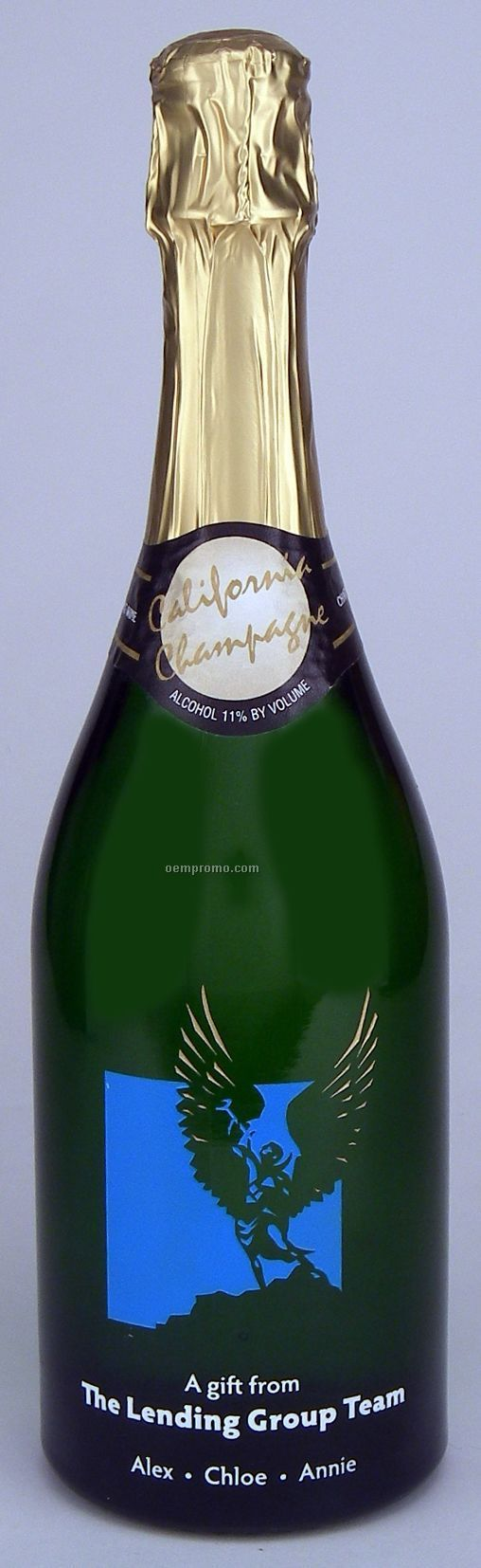 750ml California Champagne (Sparkling Wine) Etched W/ 2 Color Fill