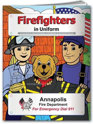 Coloring Book - Firefighters In Uniform With Blaze The Bear