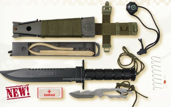 Deluxe Jungle Survival Kit Knife With Compass