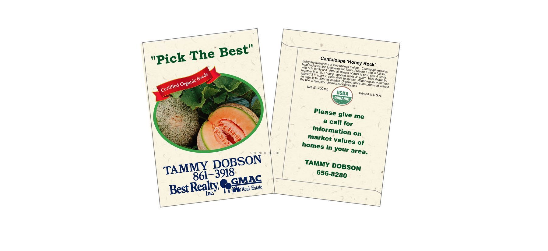 Organic Cantaloupe - Honey Rock Seed Packets (1 Color)
