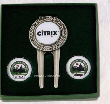 Tournament Gift Set - Medallion Tool Money Clip W/ 3 Ball Markers